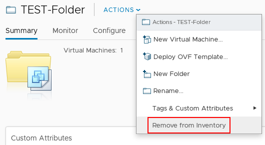 IMPORTANT: Removing a virtual machine folder from inventory deletes